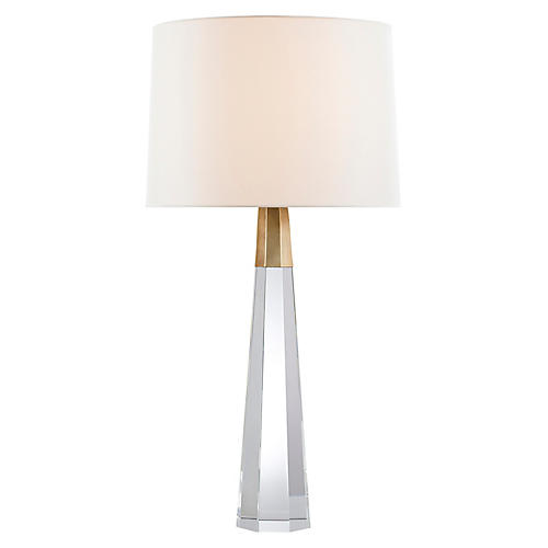 Olsen Table Lamp, Clear Crystal/Brass