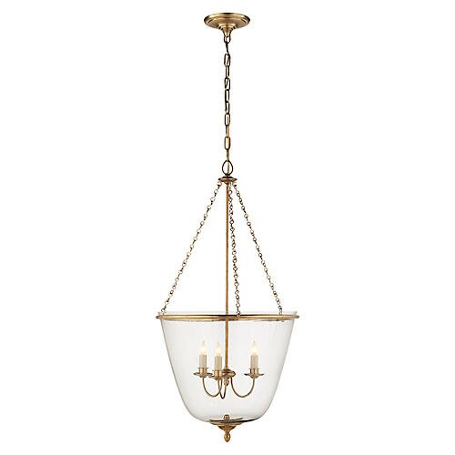 Pondview Pendant, Antiqued Brass/Clear