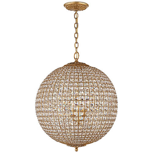 Renwick Large Sphere Pendant, Gild/Clear Crystal