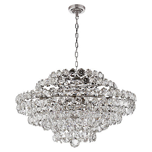 Sanger Large Chandelier, Nickel/Clear Crystal