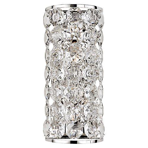 Sanger Long Sconce, Polished Nickel/Clear Crystal