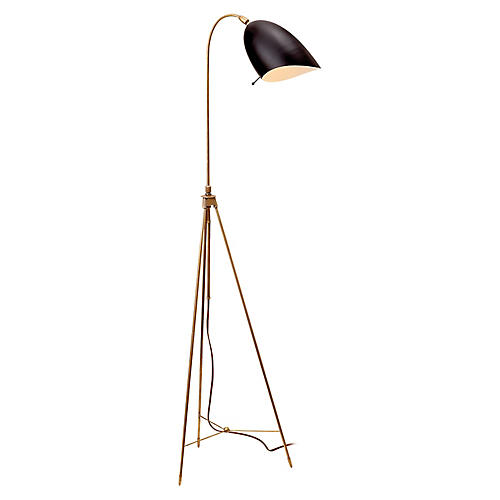 Sommerard Floor Lamp, Antiqued Brass/Black