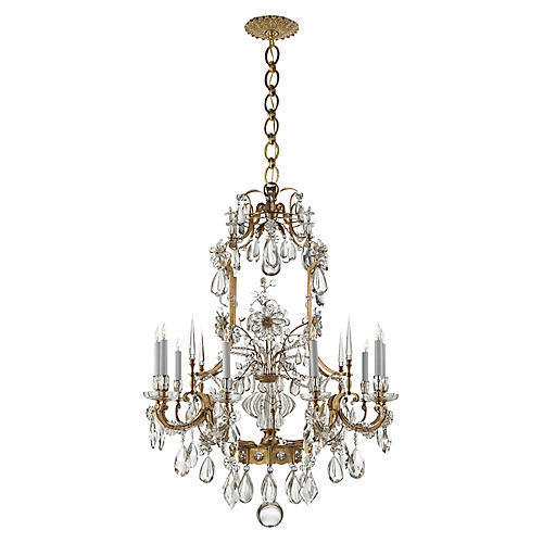 Vestry Chandelier, Antiqued Brass/Clear Crystal