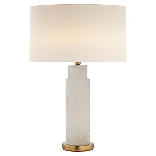 Yvette Table Lamp, Alabaster/Brass