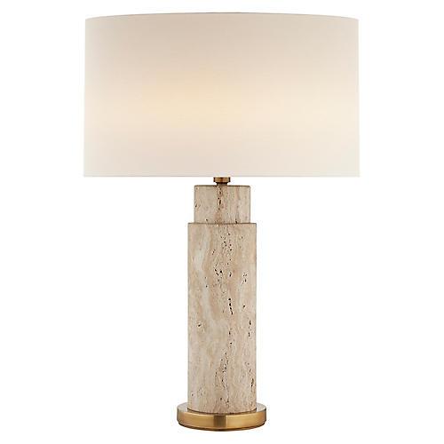 Yvette Table Lamp, Limestone/Brass
