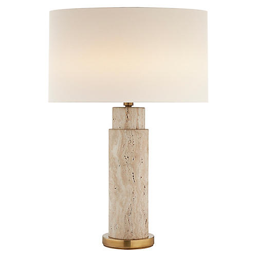 Yvette Table Lamp, Limestone/Brass