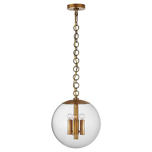Turenne Medium Globe Pendant, Antiqued Brass