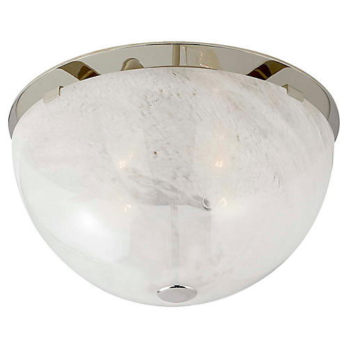 Serein Flush Mount, Polished Nickel/White