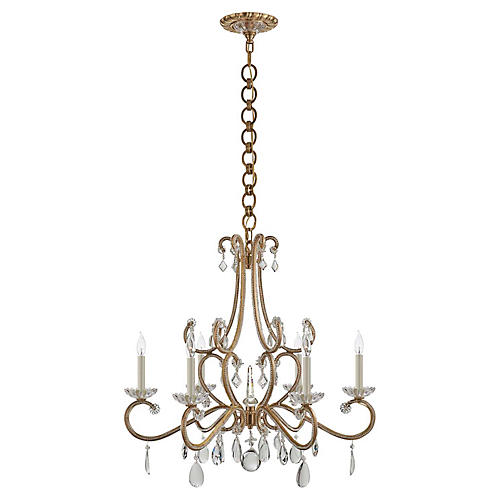 Montmartre Medium Chandelier, Brass/Crystal