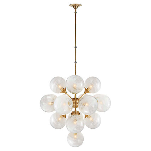 Cristol Large Tiered Chandelier, Brass/White