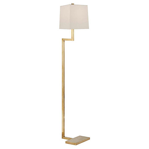 Alander Floor Lamp, Antiqued Brass