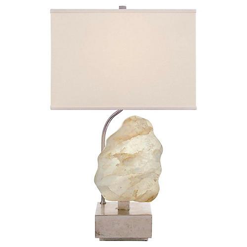 Trieste Small Table Lamp, Silver Leaf/Quartz