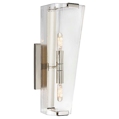 Alpine Single Sconce, Nickel/Clear