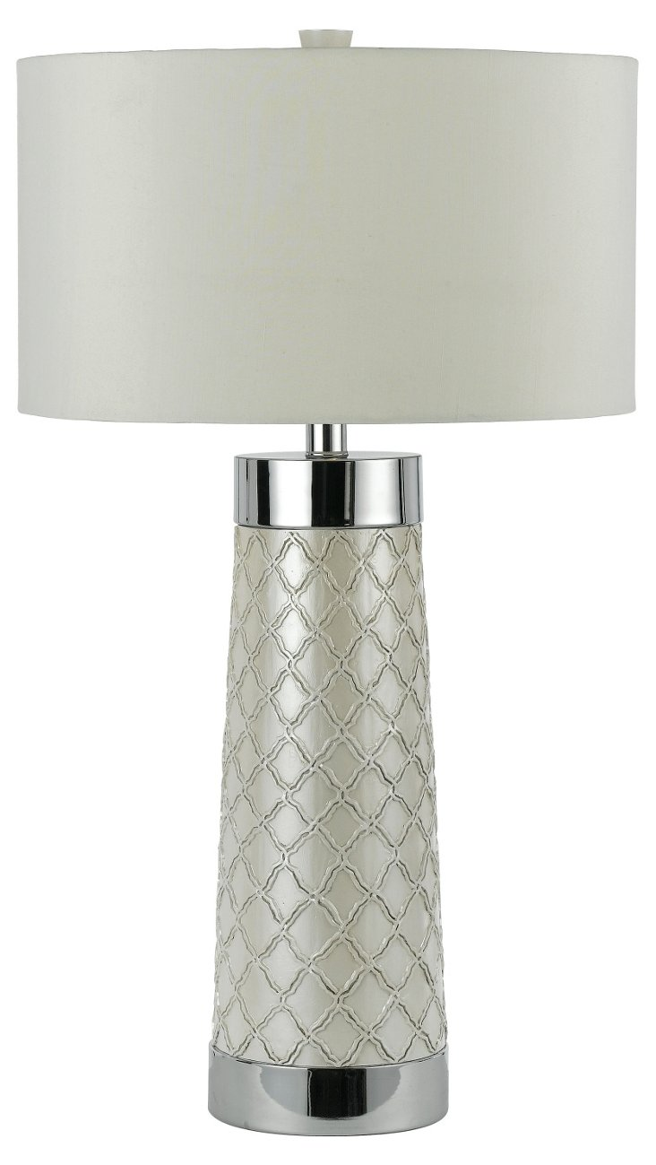 Trellis Quilted Table Lamp, Chrome