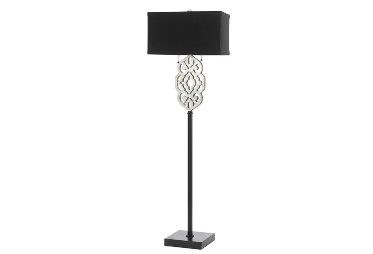 Grill Floor Lamp, Silver