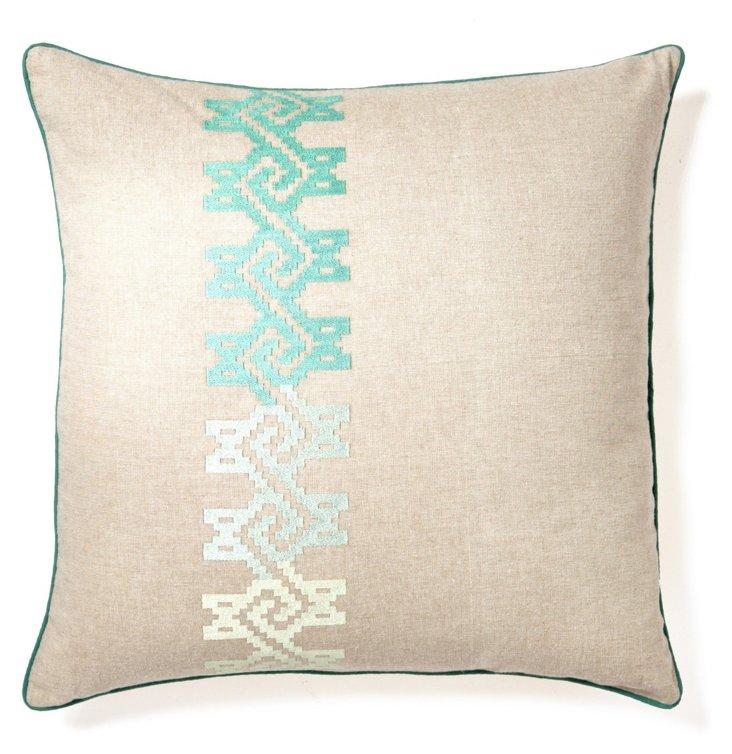 Maze 20x20 Cotton Pillow, Natural/Green