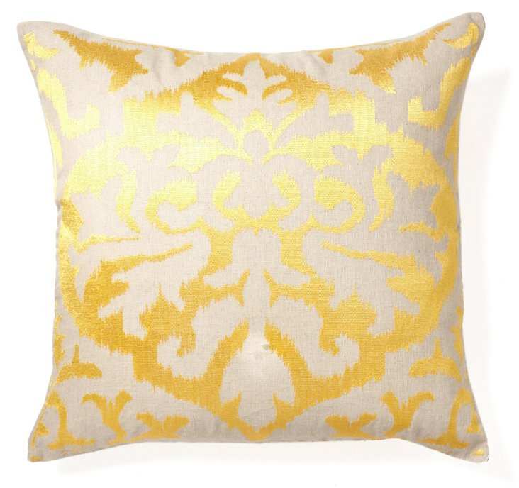 Ikat 20x20 Embroidered Pillow, Yellow