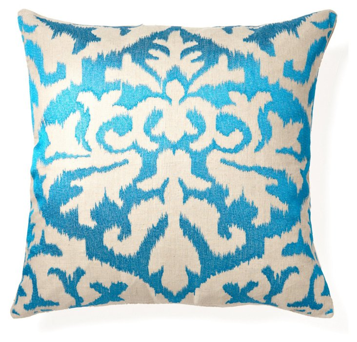 Ikat 20x20 Embroidered Pillow, Turquoise