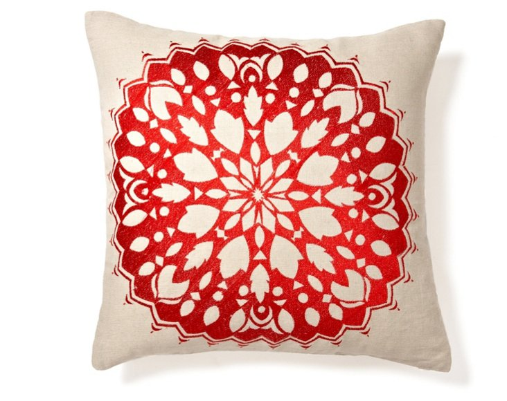 Rangoli 20x20 Embroidered Pillow, Red