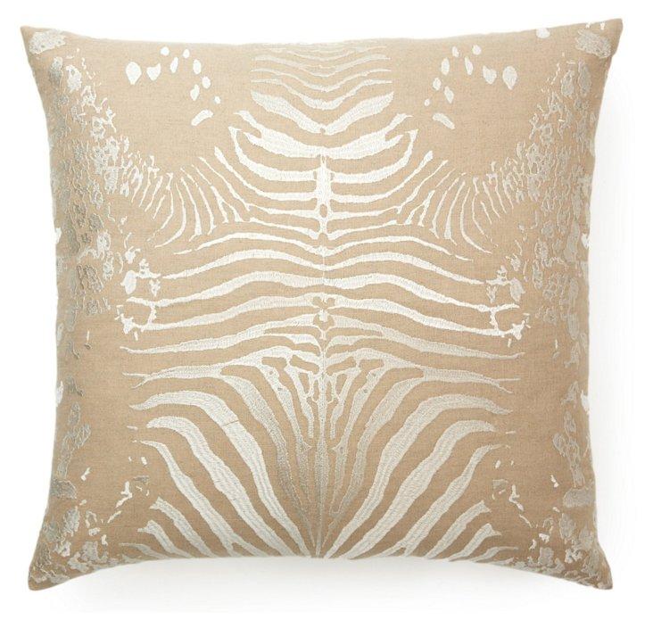 Tiger 20x20 Cotton-Blend Pillow, Ivory