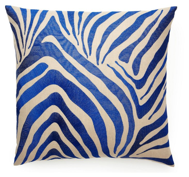 Zebra 22x22 Pillow, Blue