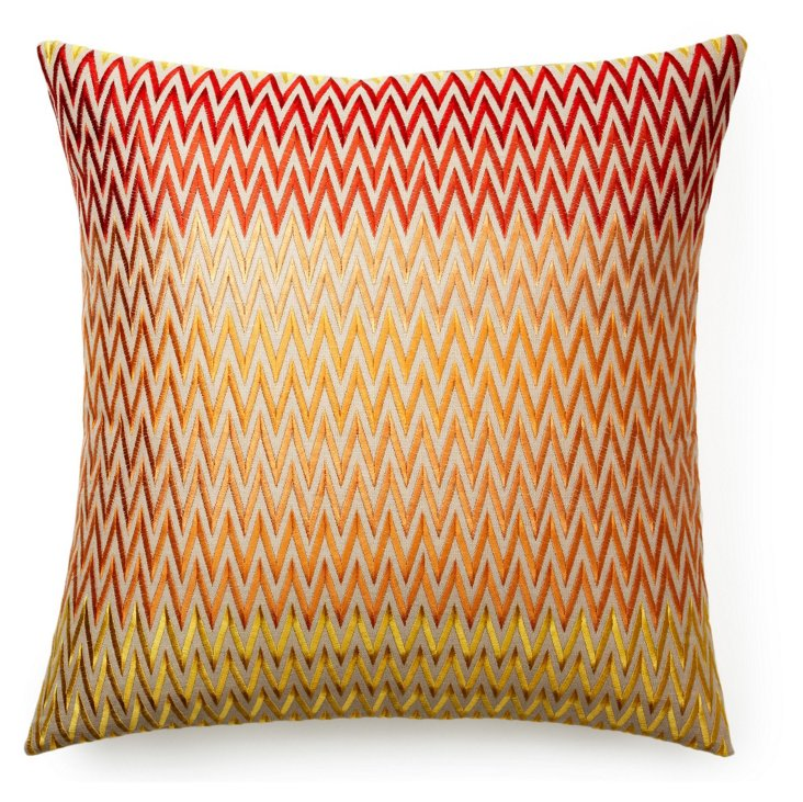 Zigzag 22x22 Cotton-Blend Pillow, Orange