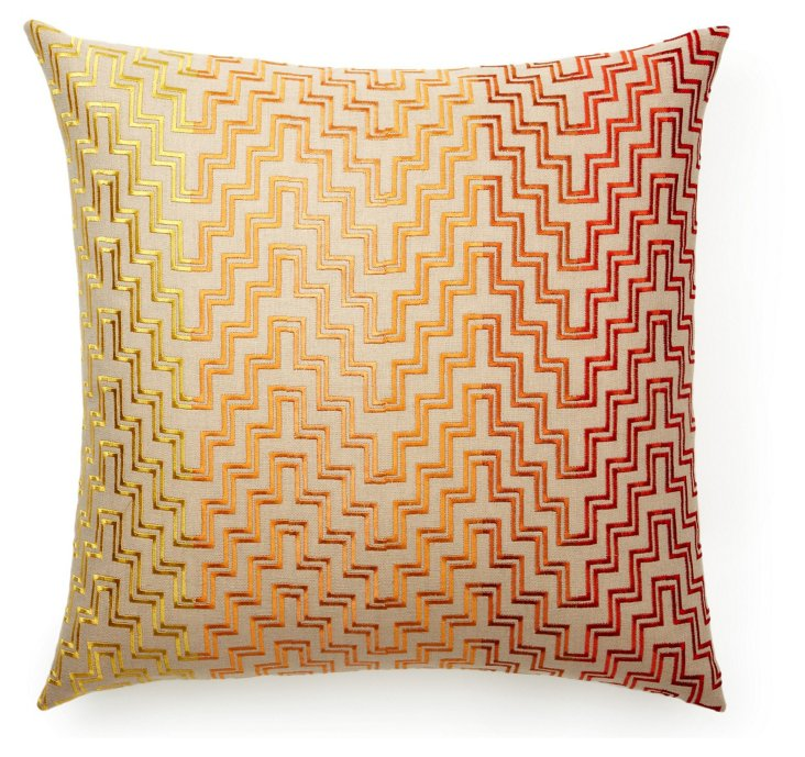 Steps 22x22 Cotton-Blend Pillow, Orange