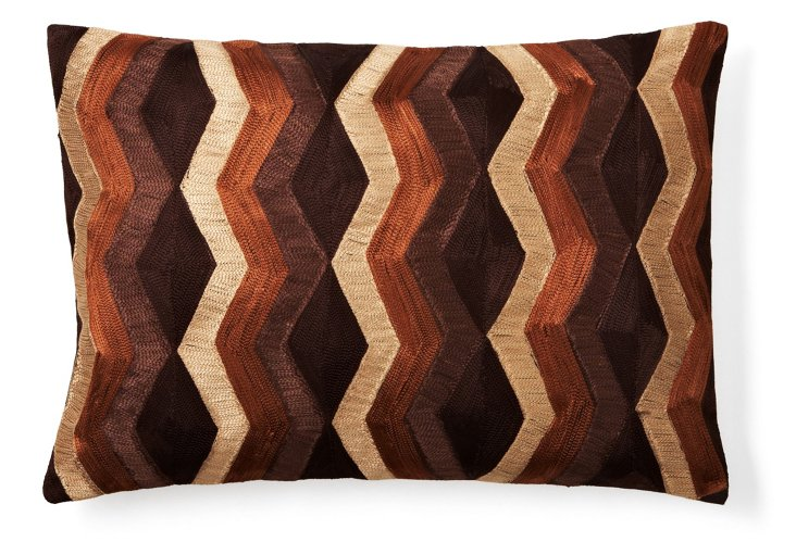 Rhythm Stripe 14x20 Pillow, Brown