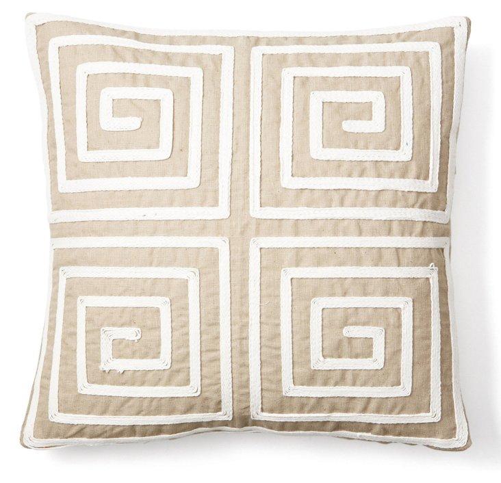 Greekie 22x22 Pillow, Natural