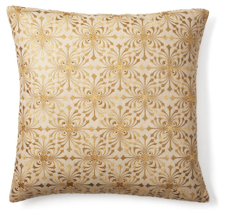 All Over Embellish 20x20 Pillow, Gold