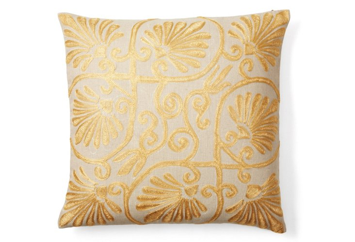 Flora 20x20 Cotton-Blend Pillow, Gold