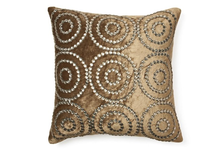 Circles 20x20 Pillow, Light Brown