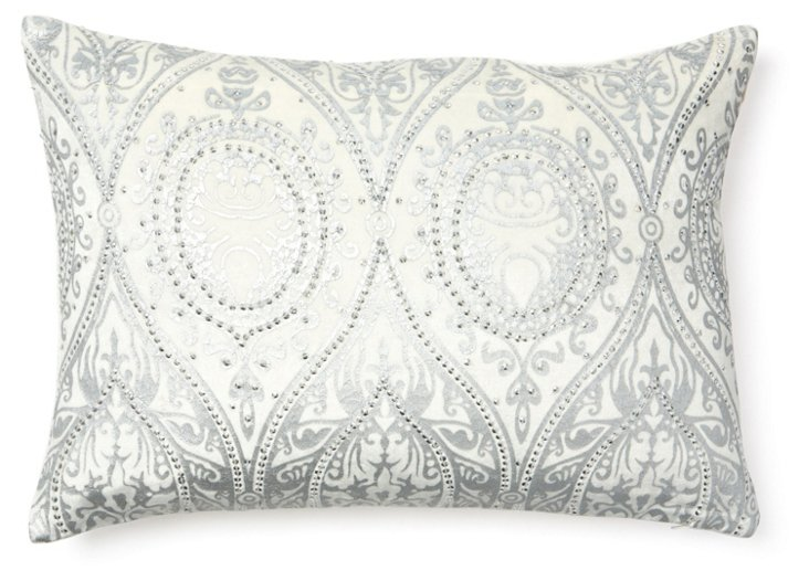 Alina 14x20 Pillow, Ivory/Silver