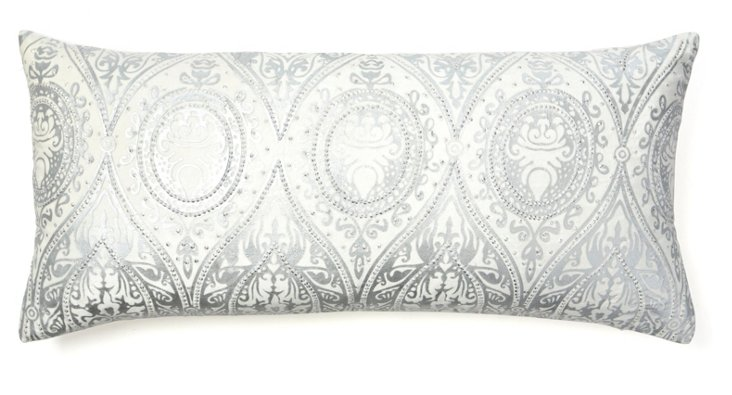 Alina 14x31 Pillow, Ivory/Silver