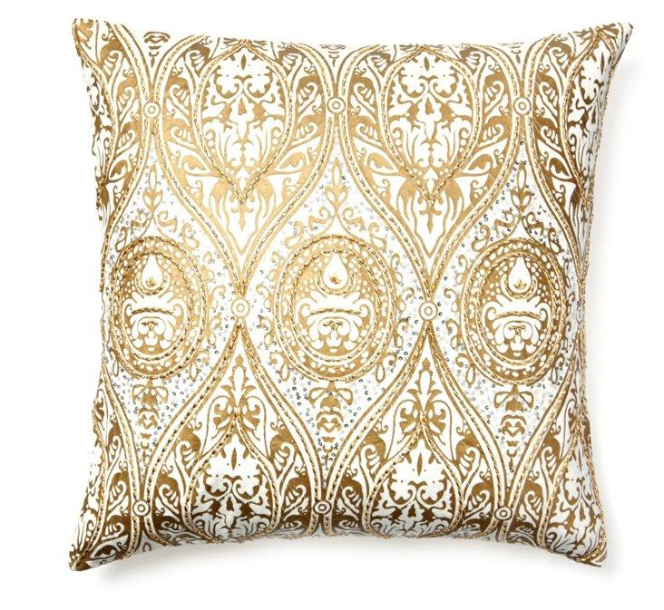 Anai 22x22 Pillow, Ivory/Gold