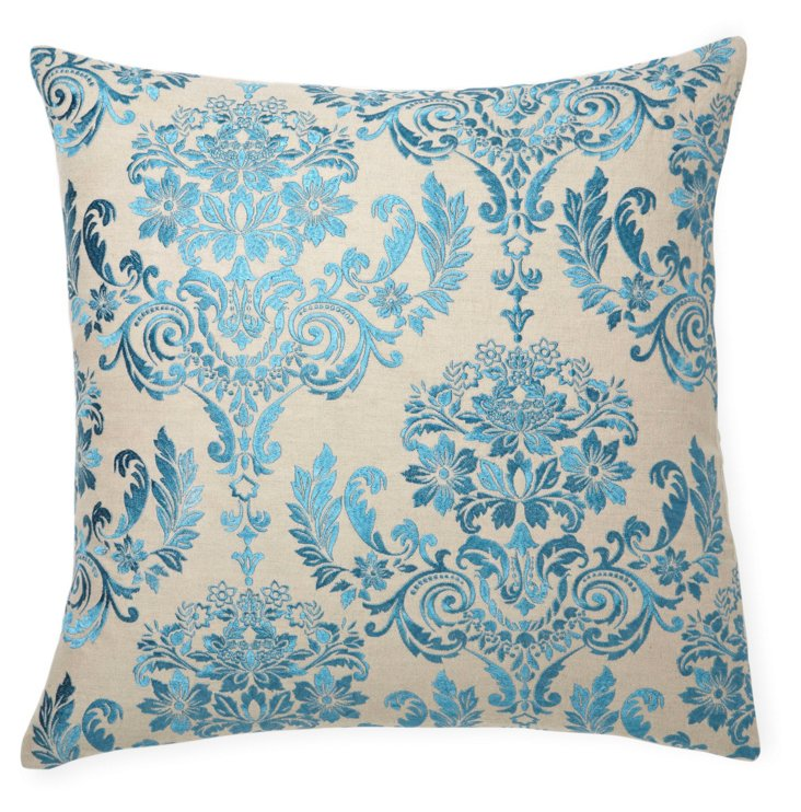 Damask 22x22 Embroidered Pillow, Blue
