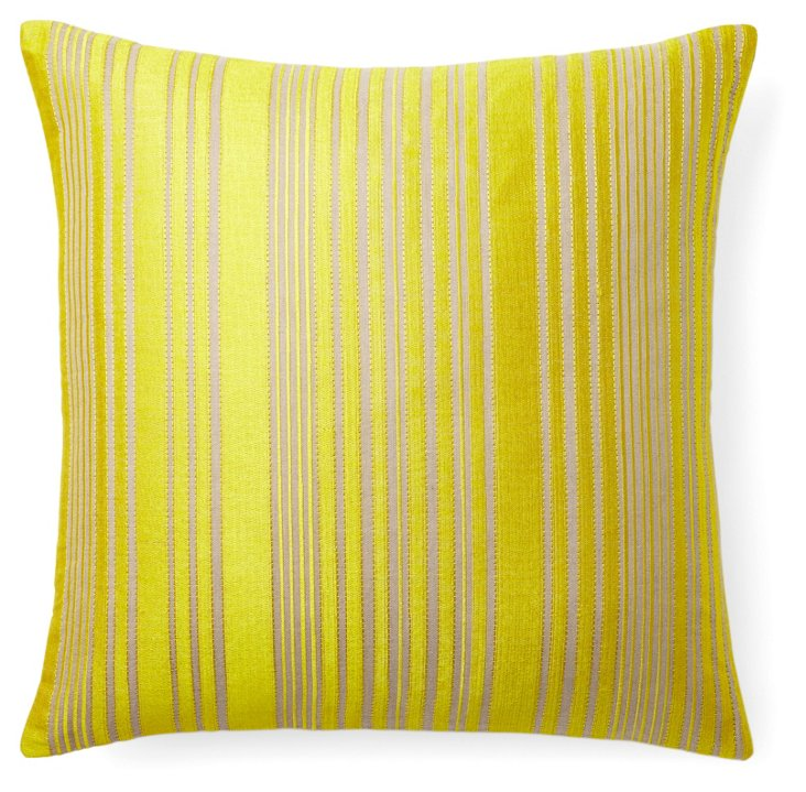 Stripes 22x22 Embroidered Pillow, Yellow