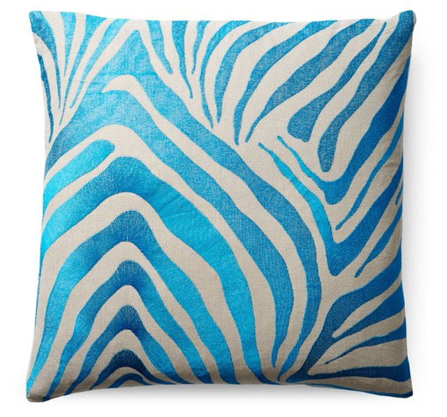 Zebra 22x22 Embroidered Pillow, Teal