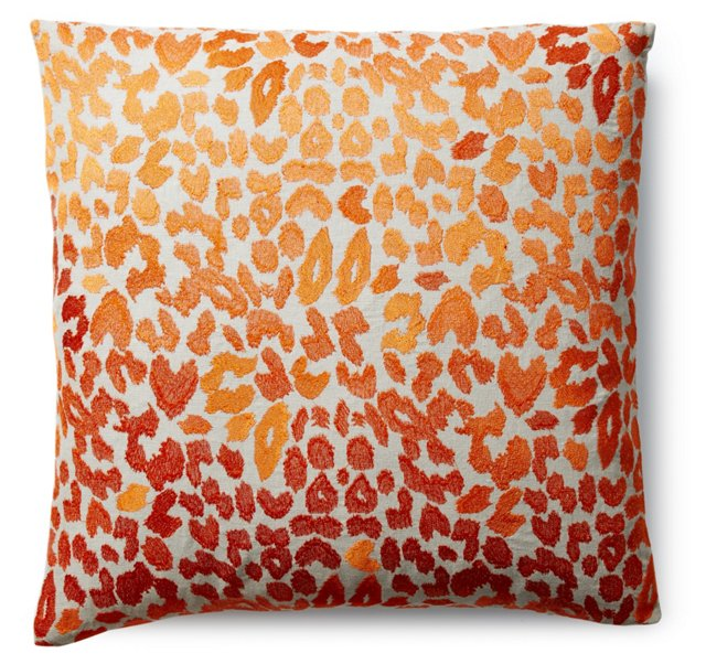 Leopard 22x22 Embroidered Pillow, Orange