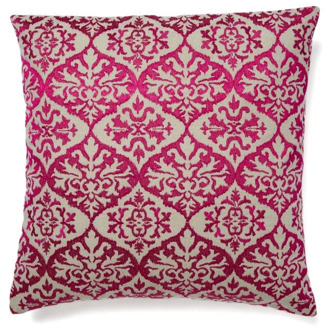 Ikat 20x20 Linen Pillow, Fuchsia