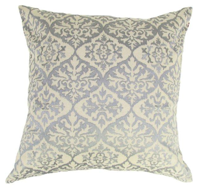 Damask 20x20 Linen Pillow, Gray