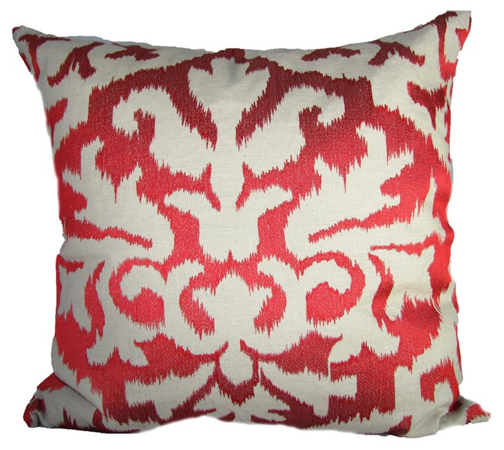 Ikat 20x20 Embroidered Pillow, Red