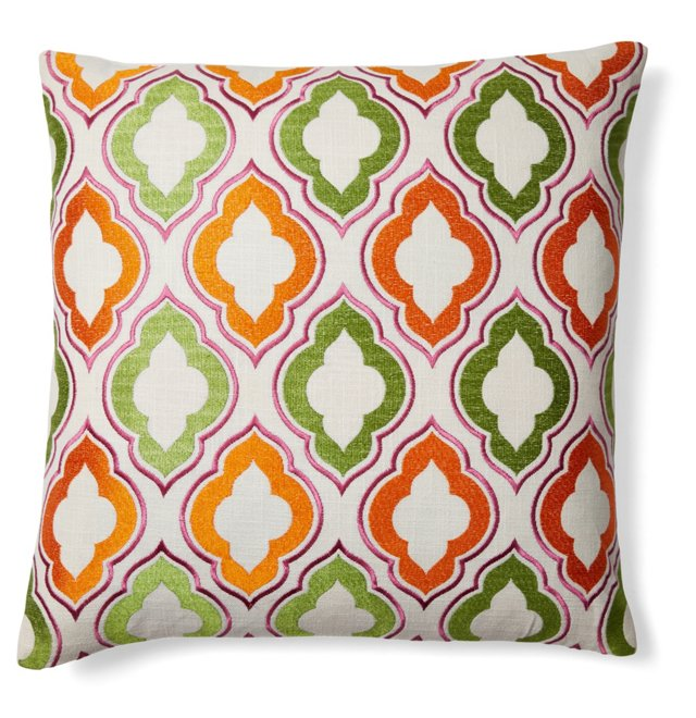 Tile 20x20 Embroidered Pillow, Multi