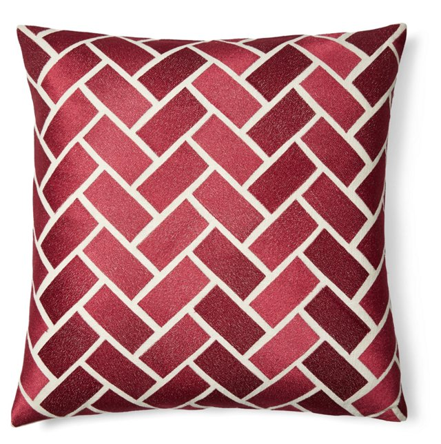 Bricks 20x20 Embroidered Pillow, Red