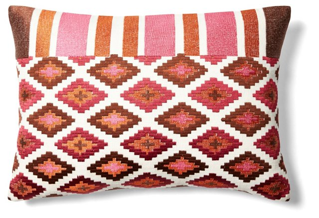 Medley 14x20 Embroidered Pillow, Brown
