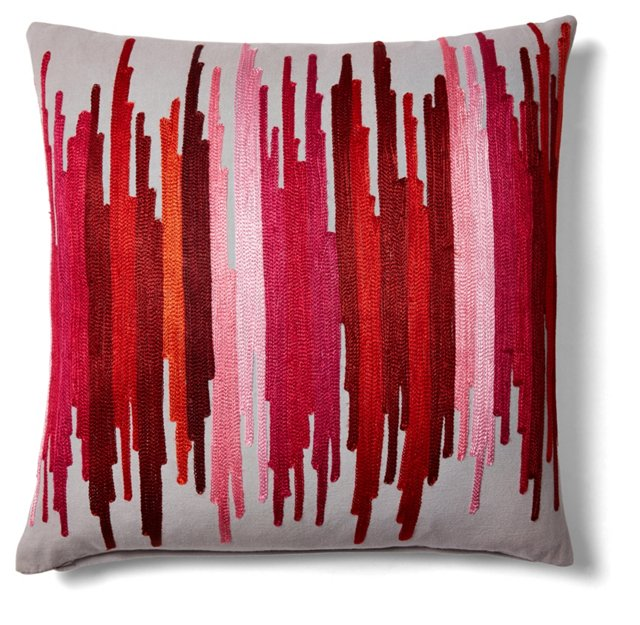 Symphony 18x18 Embroidered Pillow, Red