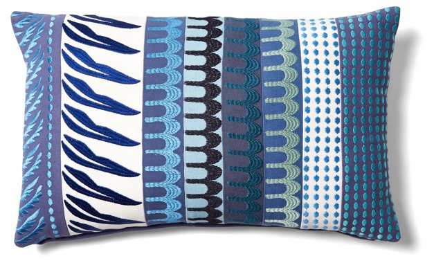 Bold 12x20 Embroidered Pillow, Blue