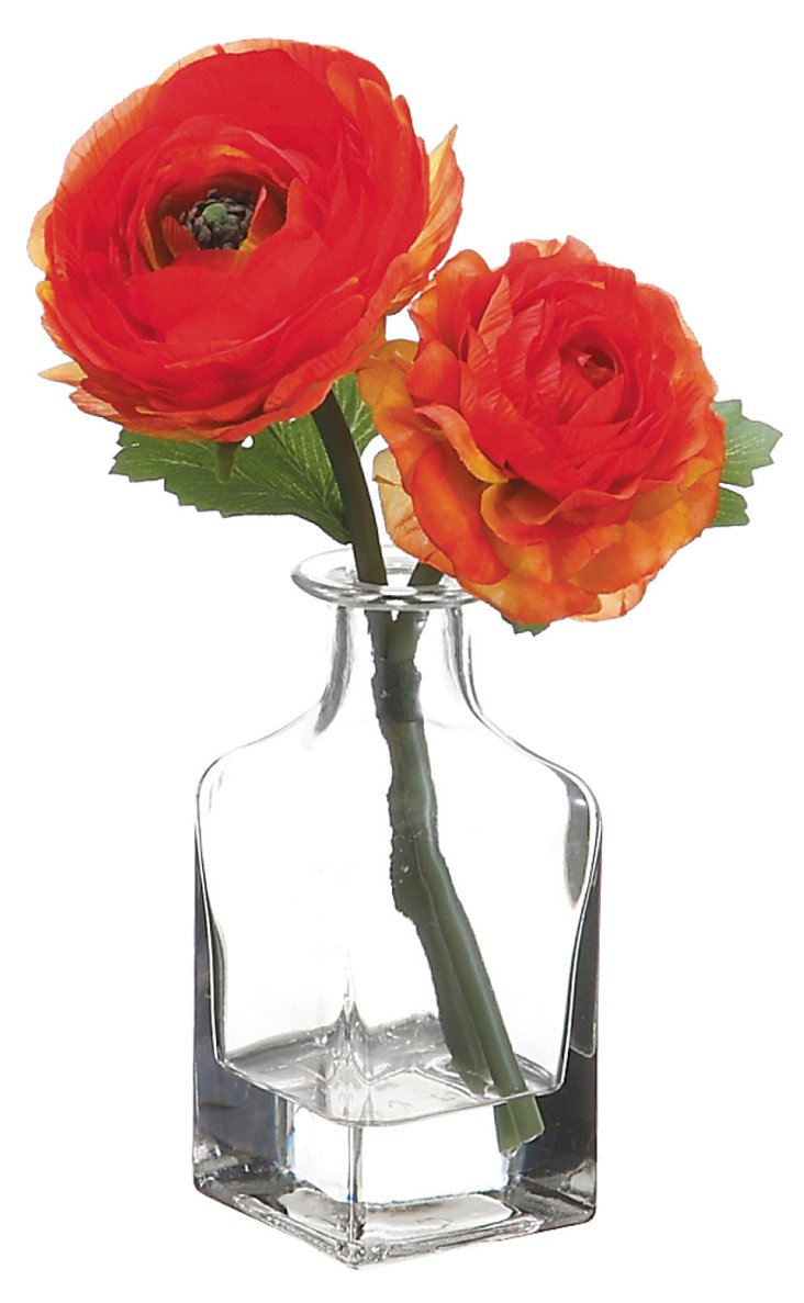 "8"" Ranunculus in Glass Vase, Red/Orange"