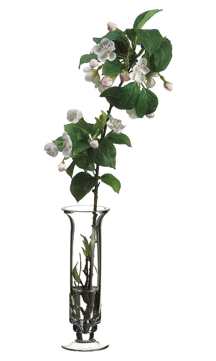 """21"""" Apple Blossom in Glass Vase, Faux"""
