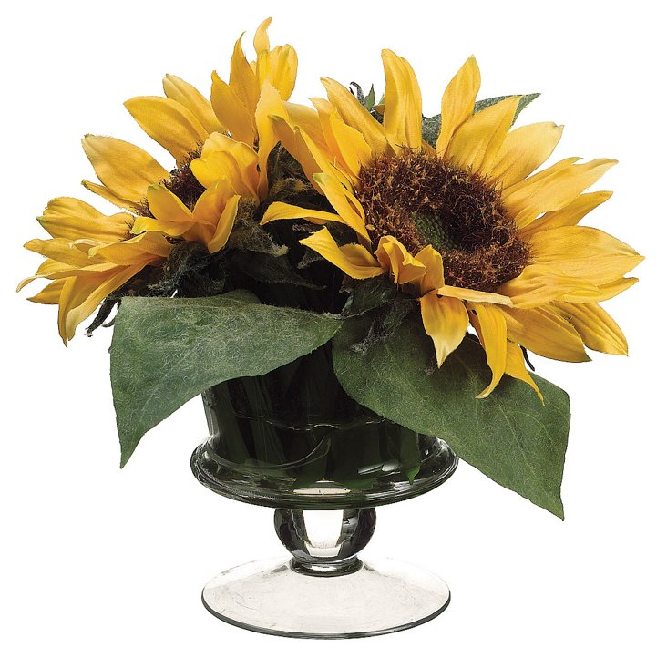 "9"" Sunflowers in Glass Vase"